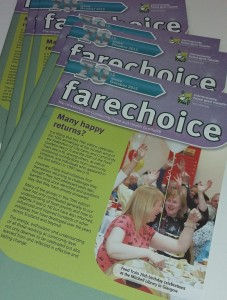 pile of Fare Choice newsletters