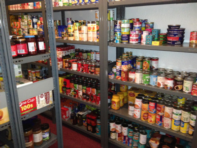Non-perishable food on shelves