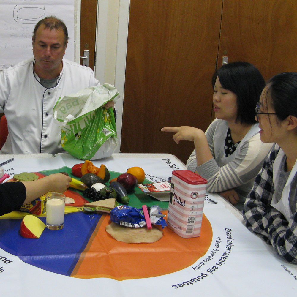 Group of young asian women with chef around Eatwell Plate