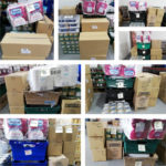 Boxes containing toilet paper and other goods